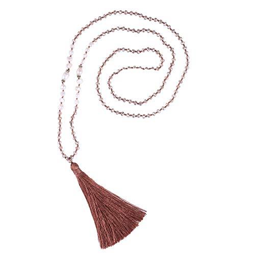 te Halskette Handmade natürlich Perle Kristall Perlen Anhänger Böhmisch Frauen Anweisung Schmuck Frauen Geschenke Mädchen (Champagner) ()