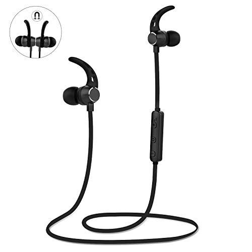 Auriculares inalámbricos LOBKIN, Bluetooth 4.2 Sonido estéreo Auriculares Ligeros con conexión magnética y Nano Recubrimiento Auricular Deportivo con Cubierta metálica y micrófono Incorporado (Negro)
