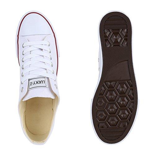 Herren Sneakers Kult Sportschuhe Schnürer Stoffschuhe Weiß
