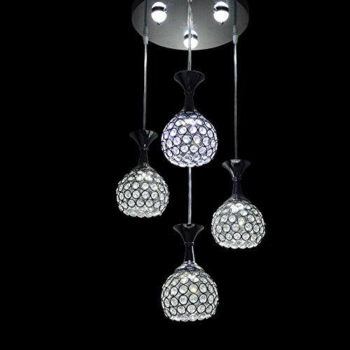 3W Kugel Blasen 5W LED Patches Modern Exklusiv Design Luxus Kreative Eleganter Pendelleuchte Kalt Weiß Rund Acryl 4-Flammig Höhenverstellbar Hängeleuchte Büro Hotel Hängelampe(Warmes Licht)Ø12cm -