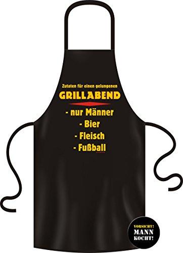Set Grillschürze / Kochschürze GRILLABEND MÄNNER BIER FLEISCH FUßBALL + Button VORSICHT MANN KOCHT (Fußball-buttons)