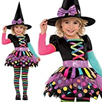 New Kids Halloween Miss Matched Witch Girls Fancy Dress Costume