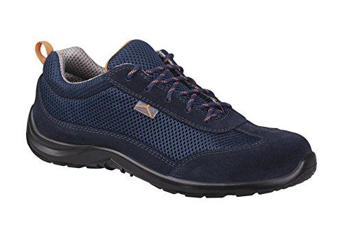 Delta Plus COMOSPBL44 - Scarpe basse in pelle scamosciata con inserti in rete, S1P SRC, numero 44, confezione da 10, colore: Blu scuro