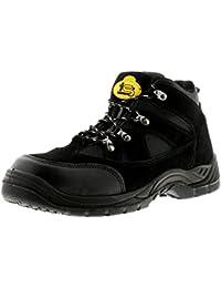 NUEVO Hombre/Caballeros/Negro Unisex Tradesafe Perú Con Cordones Seguridad Zapatos - Negro - GB Tallas 3-13 - Negro, Negro, 46