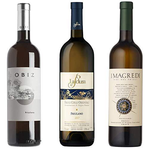 3 bottiglie di vino friulano cantina obiz, la sclusa, i magredi
