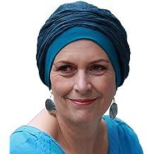 Turbante preformado Mano azul verdoso para conseguir volumen sin tener que hacer nudos o pasar lazos