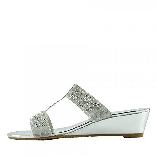 KIck Footwear Ladies platform sandals Silver F10736