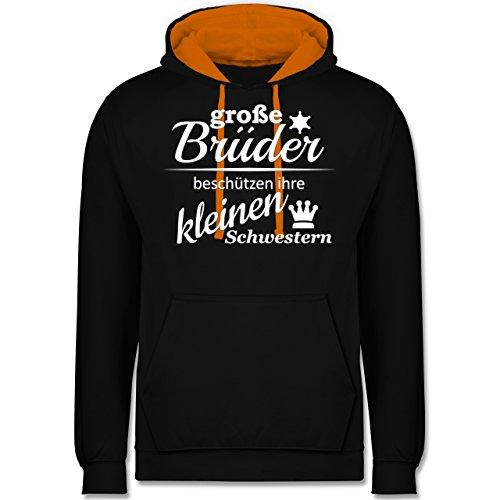 Sprüche - Große Brüder - Kontrast Hoodie Schwarz/Orange