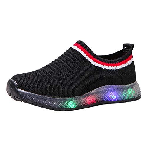 BoyYang Kinder LED Schuhe Licht Auf Casual Sportschuhe Mode Atmungsaktives Mesh Blinkende Sneaker Turnschuhe Ausbilder Outdoor Schuhe Für Die Baby Jungen Mädchen (27,Schwarz)
