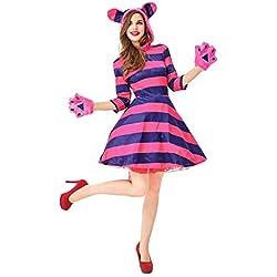 Disfraz de Gato para Mujeres Vestido con Capucha y Falda a Rayas Divertido de Navidad Halloween,XL