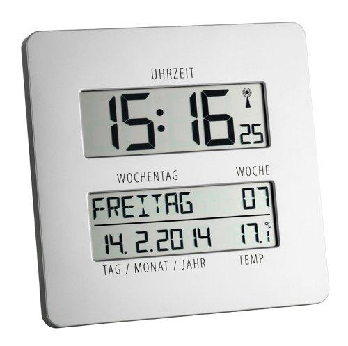 TFA Time Line Funkuhr mit Temperatur 60.4509.54, silber, übersichtliche Anzeige zur einfachen Zeitorientierung mit ausgeschriebenem Wochentag und vollständigem Datum - 2