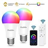 Smart Lampe MustWin 2er Wlan Lampe 9W Alexa Glühbirne 900LM E27 RGB +Warmweiß +Kaltweiß mit 3 Kontrollweise von APP &Sprachsteuerung &IR-Fernbedienung, Kompatibel mit Alexa Google Home zu Weihnachten