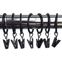 Marwotec Verbindungselemente 50 Stk. 25mm Durchmesser Mehrzweck Vorhang Clip Schwarz Gardinenstange Gardinenringe Vorhangringe mit Clips