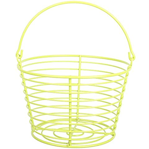 CrazyGadget® Country Farm Stye Strong Colour Metal Wire Egg Holder Stand Basket with Handle - Holds More Than 24 Eggs (Lime
