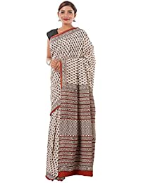 Soft & Cotton Women's Saree Sari - Bagru Print Cotton Saree | Black Beige Hand Block Print Saree-Sari