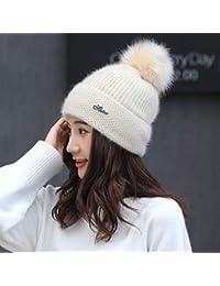 HAOLIEQUAN Gorros para Mujer Sombrero De Punto Gorrita Tejida Gorro Pompón Mujer  Sombreros De Invierno para 6968c212c3b