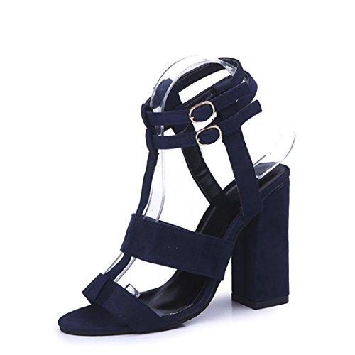 Sandalen Knöchelriemchen Damen Schnallen Syntetische Sandalen High Heel Sommer Outdoor Schuhe Strandschuhe Flache Mode Schuhe Leder Boden Hausschuhe Bequeme Schuhe Abendschuhe LMMVP (41CN, Blau)