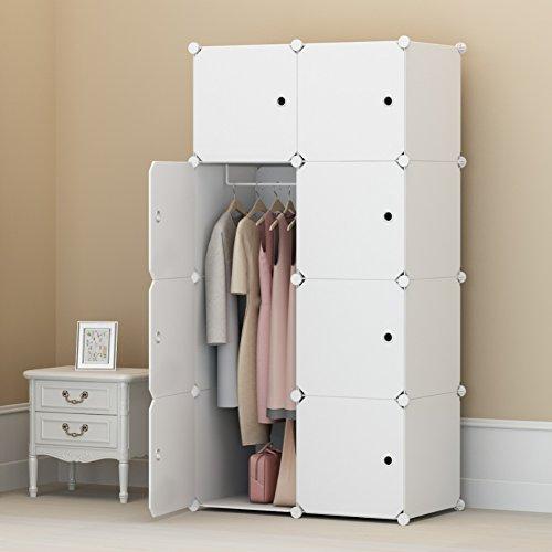 Koossy Erweiterbares Kleiderschrank Regalsystem für Kinderzimmer Wohnzimmer und Schlafzimmer 440L, Weiß, 75 x 47 x 147 cm