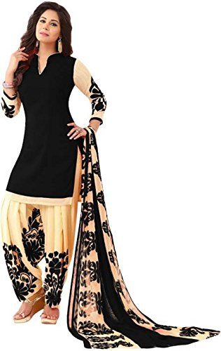 Space Women\'s Crepe Printed Salwar Suit Patiyala with Dupatta Material, Kurta & Churidar Material (Un-stitched) great indian sale sarees dresses for women 2017 amazon today offers today 2018 dates Dr