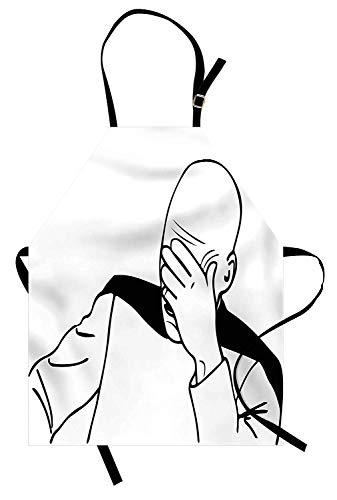 Humor Schürze, Captain Picard Gesicht Palm Troll Guy Meme Bildunterschrift Super Fun Online Illustration, Unisex-Küche Latzschürze mit verstellbarem Hals zum Kochen Backen Gartenarbeit, schwarz und ()
