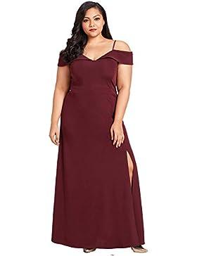 Vestidos Los de mujeres con cuello en V eslingas High-Waist hendiduras faldas largas de color sólido