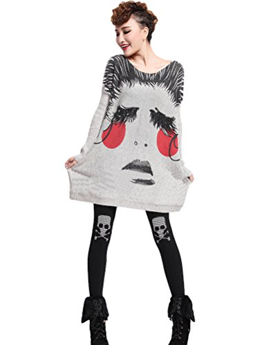 MatchLife Damen Gedruckt Strickpullover Rundhals Jumper Top Style8-Face