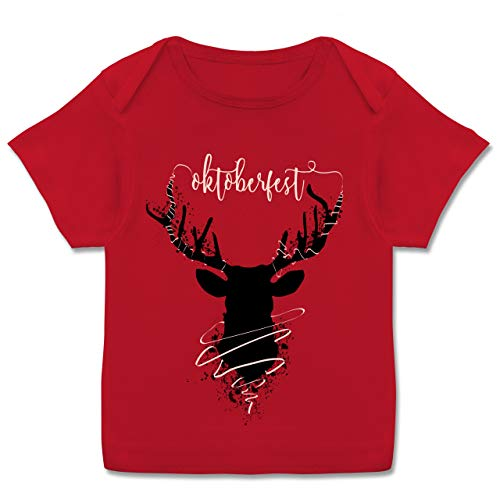 Oktoberfest Baby - Hirsch Oktoberfest - 80-86 (18 Monate) - Rot - E110B - Kurzarm Baby-Shirt für Jungen und Mädchen -
