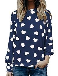 Blusa Mujer Primavera Otoño Elegante Patrón De Corazón Camisa De Manga Larga Cuello Redondo Joven Camisas Vintage Moda Casual Shirts…