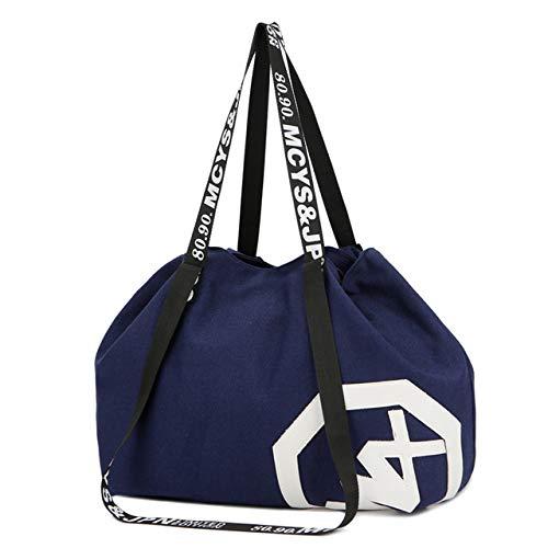 Camo Canvas Tote Bag (Miles Sail Große, große Kapazität Reisetasche Outdoor-Reise Handtasche Canvas Sporttasche Yogamatte Tasche Kordelzug Sporttaschen Sporting Women Fitness Bag, Large Blue)