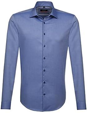 SEIDENSTICKER Herren Hemd Slim 1/1-Arm Bügelfrei Uni / Uniähnlich City-Hemd Kent-Kragen Kombimanschette weitenverstellbar