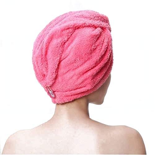 TLZR Schnell Trocknendes Handtuch Trockenes Haar Hut Haarwickel Super Saugfähiges Schneller Magischer Trockner Feuchtes Wickeln Leichtes Haartuch Handtuch red -