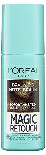 L'Oréal Paris Magic Retouch Ansatz-Kaschierspray, Braun bis Mittelbraun, 1er Pack (1 x 75 ml) (Braune Haare Färben Spray)
