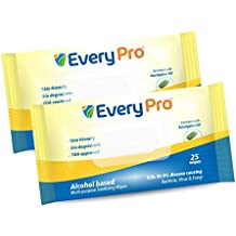 EveryPro IPA based Multi-Purpose Sanitizing Wipes | 25 wipes (pack of 2) | Enriched with Eucalyptus Oil | Kills 99.9% Virus; Bacteria; Fungi | Easy to carry | Biodegradable | Multi-Surfaces