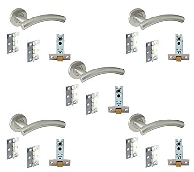 5 Set's Door Handle Pack Internal C/w Latch Hinges Arched Lever Furniture Stainless Steel - cheap UK door handle store.