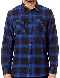 Vans Camisa de Manga Larga Monterey III Negro-Mazarine Azul 20286de1d30