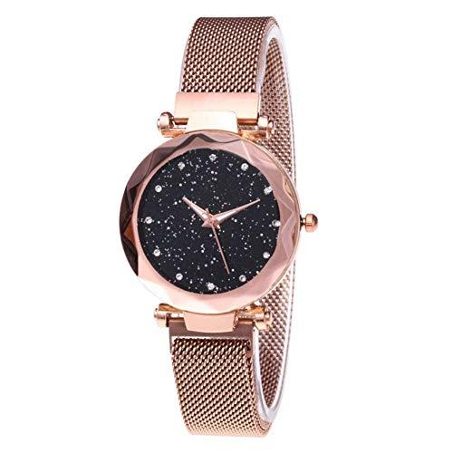 Sternenhimmel Frauen Luxusuhren,Strass Quarz Damenuhr dünne weibliche Armbanduhr