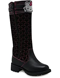 Hello Kitty genou haute Bottes Enfant Fille Noir Character Chaussures Chaussures