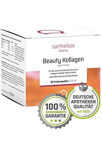 Sanhelios® Beauty Kollagen | Anti Falten Kur zum trinken - Anti-Aging von Innen in Apothekenqualität | 30 Stück | 2500mg Kollagen, Biotin, Kupfer & Vitamin C | Mit Blütenhonig & Gelée Royale -