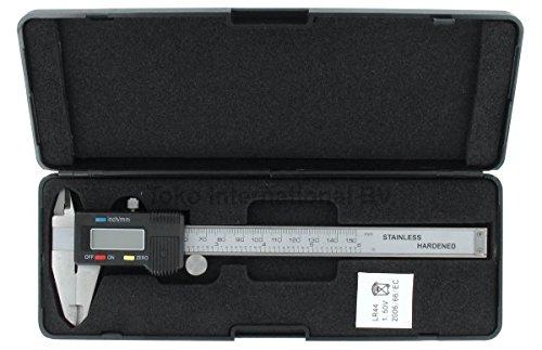 Digitaler Messschieber Edelstahl Schieblehre LCD Anzeige 150mm Silber 6 Zoll Elektronisch Digital Innenmaß Außenmaß Tiefenmaß Profimessgerät
