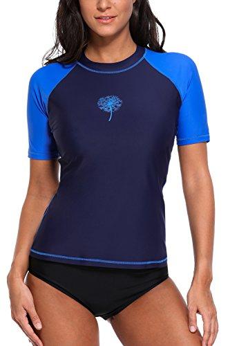 Attraco Damen Bademode Rash Guard UV Shirts Kurzarm Surf Shirt Badeshirts UPF 50+ Dunkelblau L