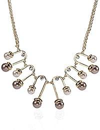 Lureme nuevo estilo europeo falso perla pendiente declaración collar para las mujeres y las niñas(nl005414)