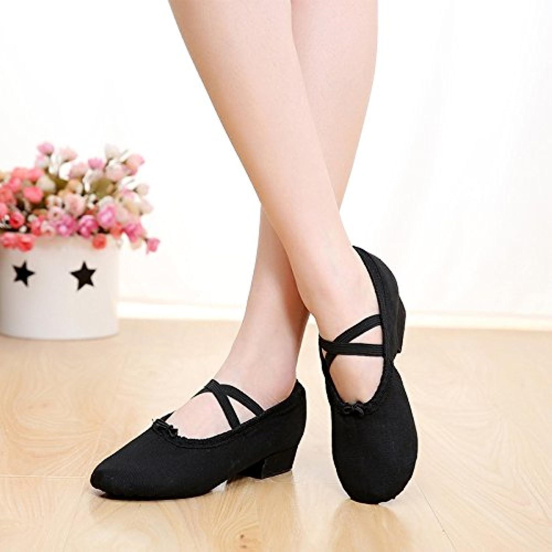 Lehrerinnen Dance Schuhe mit Schnürsenkeln Leinwand weichen Boden Bauchtanz Yoga Kung Fu Schuhe Schuhe Rosa Schwarz