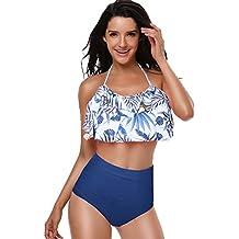2185c3289f7 Mujer Traje de Baño Bikini de 2 Piezas Bañador de Niñas Tankinis Elástico  Estampado Flores Ropa