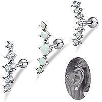 FIBO STEEL 3 Pcs 16G Stainless Steel Cartilage CZ Stud Earrings for Women Girls Helix Conch Daith Piercing Jewelry Set