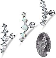 FIBO STEEL 3 Pcs 16G Stainless Steel Cartilage CZ Stud Earrings for Women Girls Helix Conch Daith Piercing Jew
