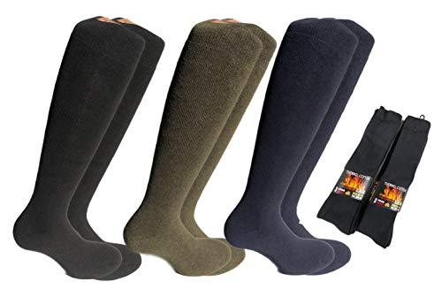 Lucchetti socks milano 6 paia calze calzini uomo lunghi da lavoro cotone felpato termico (eu 43-46 uk 9-11, 6 paia tinta unita)