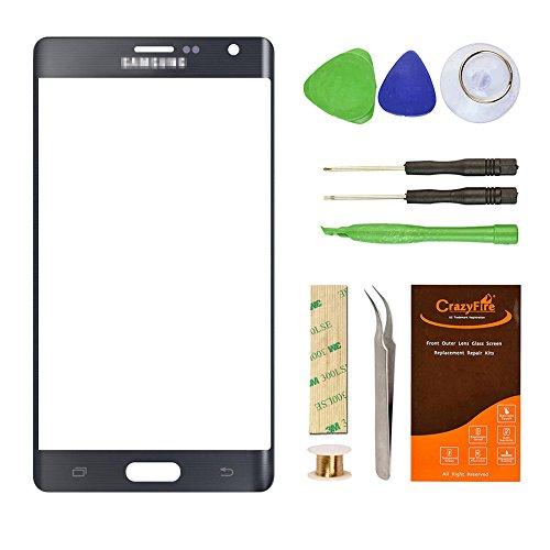 Für Samsung Galaxy Note Edge vor Äußeren Bildschirm Objektiv Glas Ersatz, crazyfire Glas-Objektiv Ersatz Reparatur-Kit für Samsung Galaxy Note Edge n915a n915g n915p n915t n915V (Schwarz)