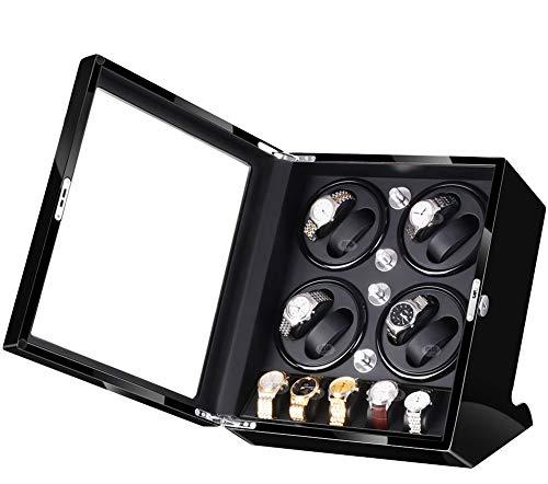 JIANBO Uhrenbeweger Günstig Fur Automatikuhren 8+5 Uhren,Watch Winder Box Für Rolex Automatikuhren/Uhrenkasten Uhrenbox/Uhrendreher/Uhren Box,Black+Black (Rolex Box)