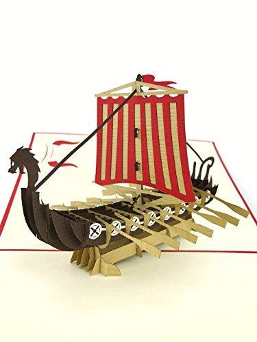 PopLife Cards Tarjeta colorida del día del padre de la nave de vikingo para todas las ocasiones - día de padres, feliz cumpleaños, felicitaciones, jubilación, aniversario - viajeros, guerreros