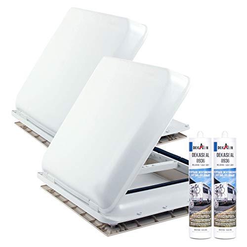 Preisvergleich Produktbild Fiamma 2X Dachfenster Vent 40x40 cm Weiß + Dekalin Dichmittel + Schrauben für Wohnwagen oder Wohnmobil